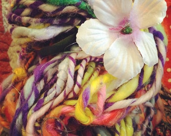 art yarn - handspun - super bulky - tropical circus - 68 yards