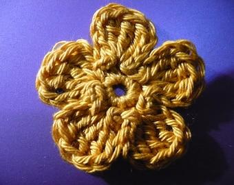 crocheted flower, yellow ochre, made in cotton