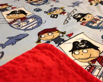Minky Blanket Pirates Print Minky with Red Dimple Dot Minky Backing - Great Gift for a Baby or Toddler