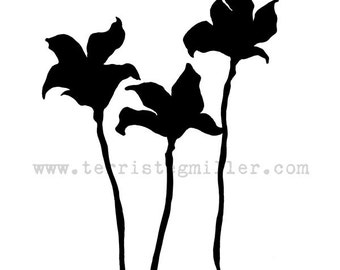 Thermofax Screen - Flower Silhouette