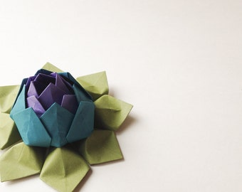 Lotus Flower - Origami Paper Flower - Purple, Teal, Moss Green - Hostess Gift, Housewarming, Birthday, Handmade Flower - can ship directly