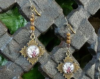 Tree of Life Cobra Jasper Gemstone Earrings, Tree of Life Dangle Leverbacks,  Lead and Nickel Free Bronze, Earthy, Very Trendy Gifts for Her