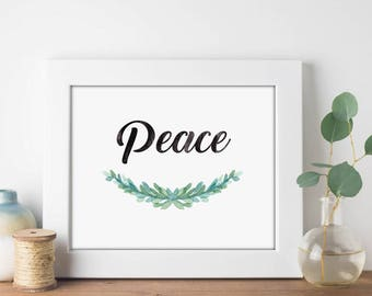 Peace Garland Watercolor - Digital Print Download, Wall Art, Typography print, Printable Quote, Art Print