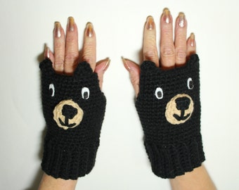 Black Bear Fingerless Gloves, Animal Mittens, Crochet Mitts, Black Hand Warmers, Winter Accessories