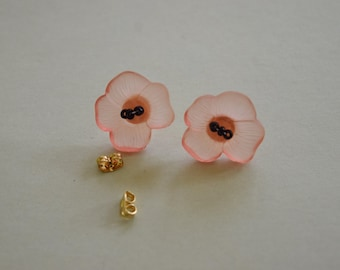 Pink Poppy Earrings