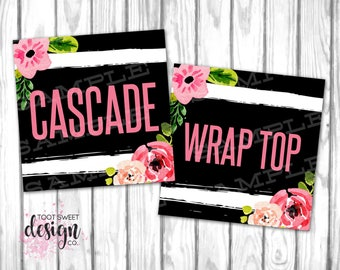 Agnes and Dora Clothing Style Name Cards, 5x5 Name Tags Online Shop Facebook Album Covers, Style Card Black Stripe Floral, INSTANT DOWNLOAD