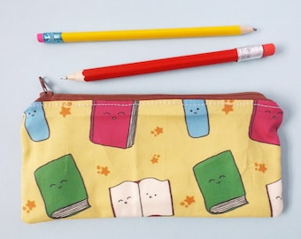 Books Pencil Case, Bookworm, Reading Gift, Kawaii Stationery, Bookmarks, Make Up Bag, Zipper Pouch, Bookshelf, Bookish Gifts, Book Lover