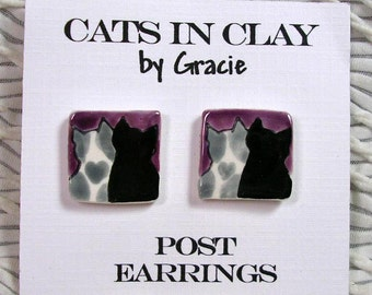 Love Cats Purple Post Earrings Handmade In Kiln Fired Clay by Gracie