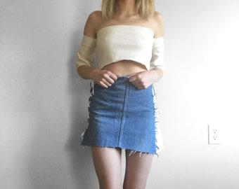 Upcycled denim asymetrical skirt