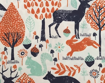 custom baby blanket ~ navy/orange woodland animals ~ chic couture ~ baby accessories ~ custom made baby blanket from lillybelle designs