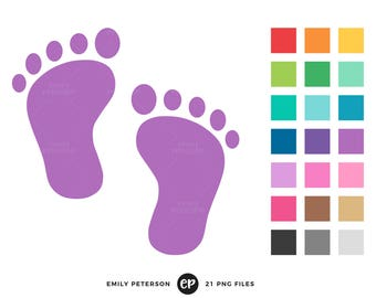 50% OFF SALE! Baby Footprint Clip Art, Baby Shower Clipart, Nursery Clip Art - Commercial Use, Instant Download