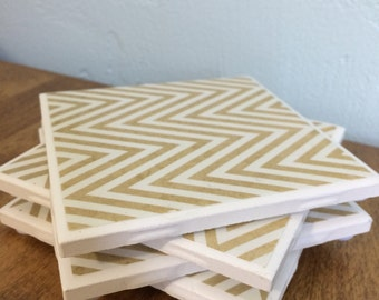 Tan and White Chevron Tile Coasters