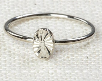Oval Midi Vintage Ring Silver Knuckle Ring US Womens Sizes 7D