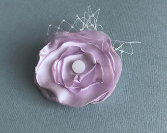 Handcrafted lilac satin rose hair flower clip, flower hair accessory, hair clip, hair flower