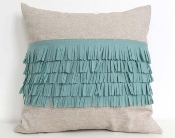 Felt Fringe Pillow in Seafoam Turquoise and Oatmeal Cotton-Linen