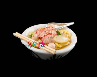 Dollhouse Miniatures Thai Style Roasted Red Pork Noodle with Soup in White Round Ceramic Bowl - 1:12 Scale