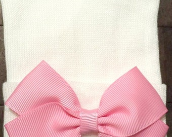 Pink Bow Hospital Hat - Newborn Hospital Hat  - Baby Girl Hat - Pink Bow Hat - Newborn Hat - Pink and White Hat - Newborn Baby Hat - Newborn