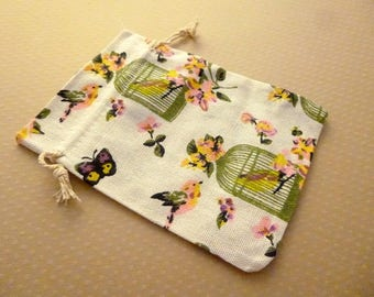 Jewelry pouch cotton Butterfly 10x14cm lined - S-0685