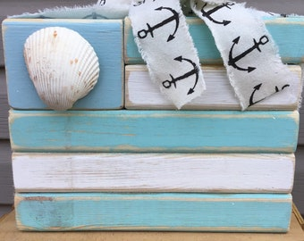 Nautical Flag Nautical Sign Seashell Sign Beach Summer Farmhouse Cottage Ocean Sign