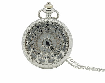 1pcs/ 45mm Retro Silver Cobweb pocket watch Necklace Chain,Necklace Pendant,craft supply BM-33