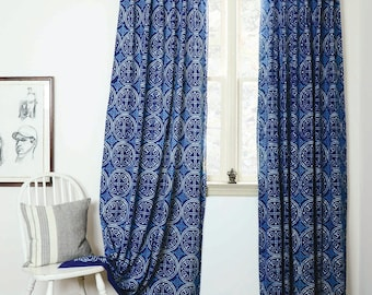 "blue curtains navy window bohemian nautical home decor housewares block print home living - ONE panel - GREECE indigo 57""w x 84""L PREORDER"