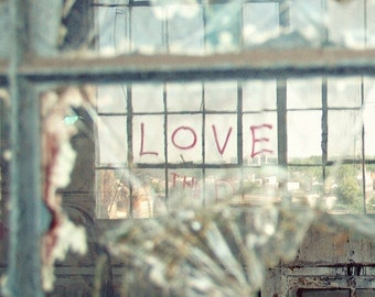 Detroit Love - 5x7 Fine Art Photography Print - abandoned urban reflection Valentine glass home decor photograph photo