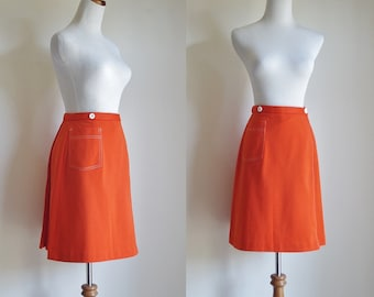 Vintage Skirt, 70s Skort, Orange Skirt Shorts, Double Knit Polyester, Preppy Skirt, 1970s Skort, Small Medium