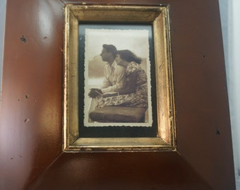 Framed Vintage Black and White Photo of Young Couple