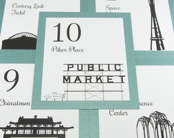 Seattle Table Number Wedding Decor Reception Sign Cards Landmark Icons Made to Order Washington Travel City