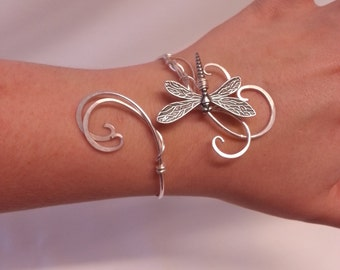 Dragonfly bracelet Silver womens gift cuff wedding elven  bangle