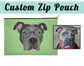 CUSTOM PET POUCH | Send your photo | Custom Portrait | Choose Background Color | Dog Lover Gift | Make-up Bag | Gift | Two sizes available