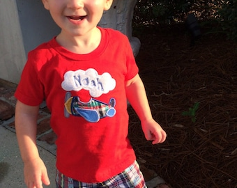 Boy's Plaid Shorts with Coordinating Applique and Monogrammed Shirt Size 6 mos. - 6 yrs