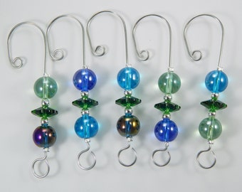 Ornament Hangers. Ornament Hooks. Decorative Hangers. Decorative Hooks. Swarovski Crystals. Glass Beads.