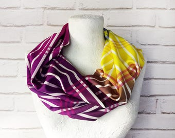 fast shipping/purple-yellow-designers modern infinity scarf/polyester-scuba fabric shawl/Gift for Her/Spring,Summer Accessories