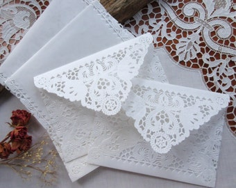 Doily Paper Lace Envelopes, Handmade, White, Wedding Invitation Liner, Tea, 10 Piece Set