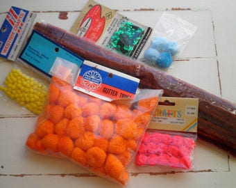 Destash Lot Vintage Trim Cotton Pom Pom Puff Balls Pipe Cleaners & Sequins - Old Stock Retro Crafting Sweing Jewelry Scrapbook Embellishment