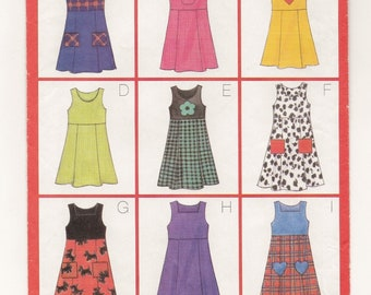 "A Pullover, Raised Waist, Fitted Bodice, Tie Ends, A-Line Jumper Pattern for Girls: Uncut - Sizes 6-7-8, Breast 25"" - 27"" ~ Butterick 5166"