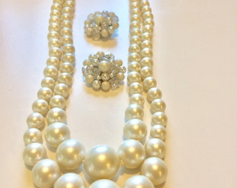 Vintage Faux Pearl Jewelry Set, demi parure, double strand necklace and clip-on cluster earrings