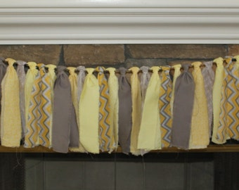 Yellow and Gray Rag Tie Banner - Stripe Rag Garland - Chevron Rag Garland - Rag Tie Garland - Yellow Rag Tie Garland - Yellow Rag Tie
