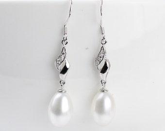 Sterling Silver Dangle Genuine Drop Bridal Pearl Earrings