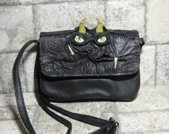 Small Cross Body Purse Messenger Bag With Face  Monster Black Leather 415