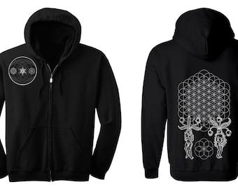 ORIGINS Flower of Life Hoodie Men's and Women's Black Hooded Sweatshirt Sacred Geometry Jacket