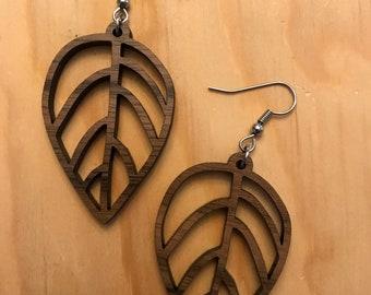 Leaf Laser-Cut Walnut Earrings
