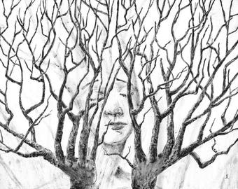 Branching Hands, Large Ink Drawing, Woods, Forest, Hands, Fingers, Twigs, Surreal, Black and White, Dryad, Fantasy, Plants, Love of Nature