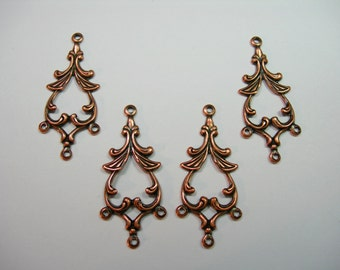 Copper Plated Brass Victorian Earring Drops Connectors Chandelier Findings - 4