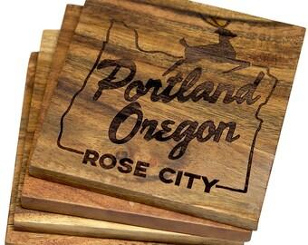 Portland, Oregon Rose City Coasters - Set of 4 Engraved Acacia Wood Coasters