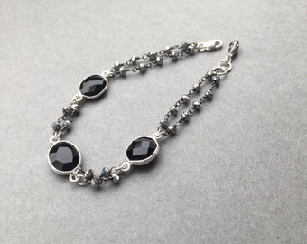 Black Spinel Bracelet, Silver Pyrite Beaded Gemstone Bracelet, Black And Silver Bracelet, Neutral Color Accessory, Mother's Day Gift Ideas