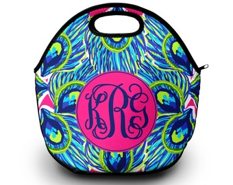 Monogram Lunch Bag   Lilly Pulitzer Inspired Lunch Bag   Gift For Her   Lunch Bag for Women
