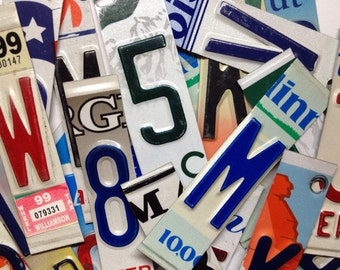 License Plate Letters Numbers - License Plate Pieces - Upcycled License Plate - Alphabet Letters Numbers - Classroom Supplies - Art Supplies