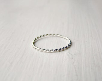 Thin Stacking Ring Sterling Silver Twist